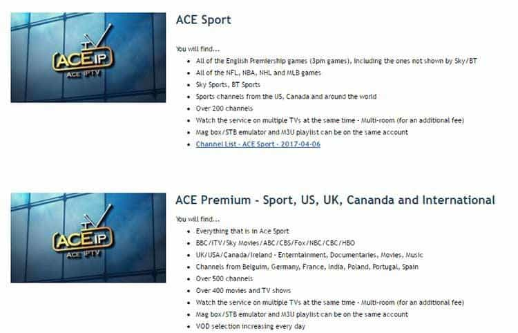 ACE IPTV Streaming Packages