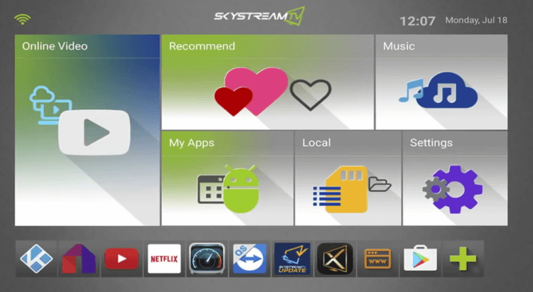Skystreamx One Android TV Box Interface and Apps
