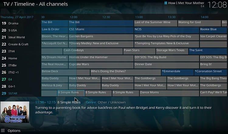 Kodi Live TV EPG