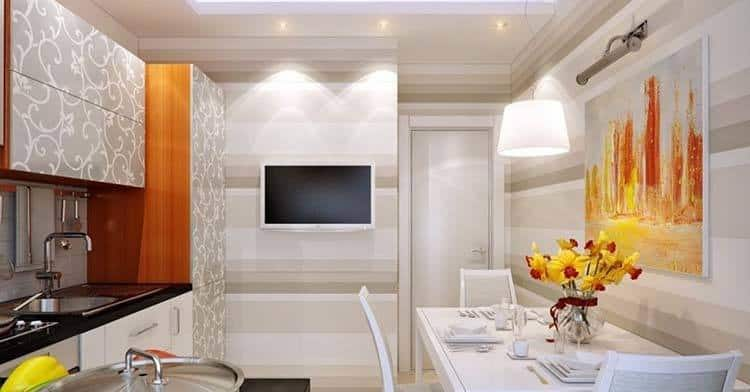 small smart tv set in kitchen