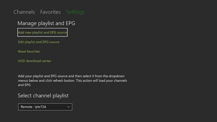 Watch IPTV on Xbox One using MyIPTV Player